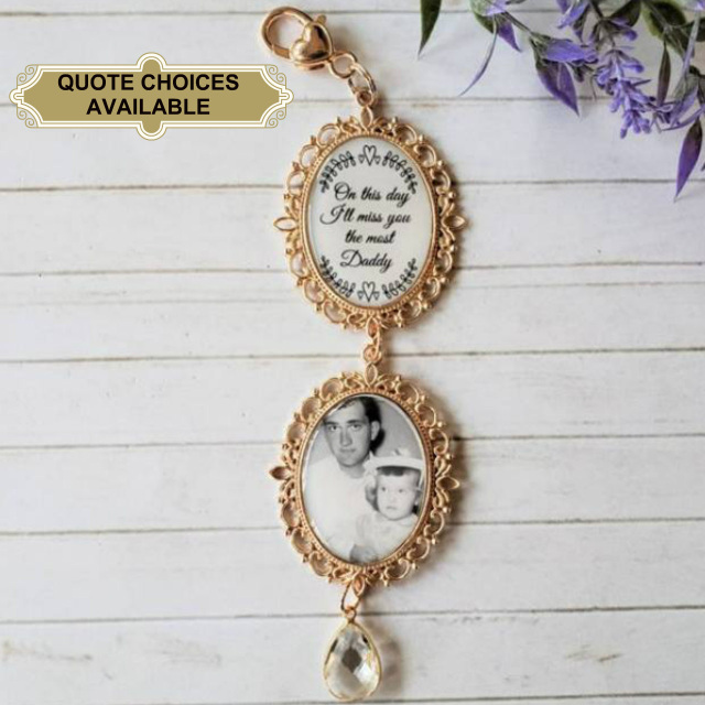 Complete Kit DIY Do It Your Self Wedding Bouquet Photo Charm Photo Bouquet Memorial Charm Oval Rose Gold In Memory Charm